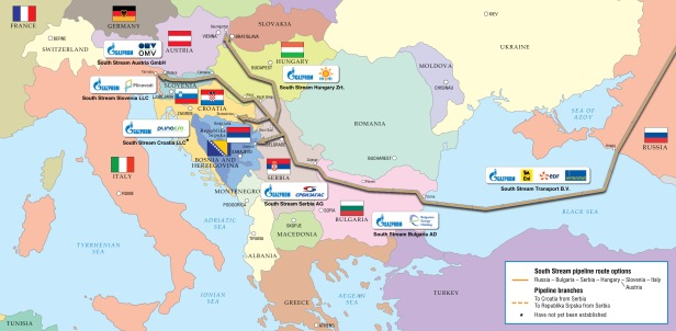 south-stream-pipeline routes map- Sources TASS